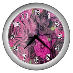 Oil Painting Flowers Background Wall Clocks (Silver)