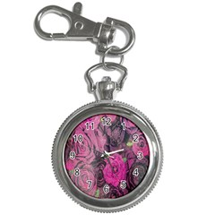 Oil Painting Flowers Background Key Chain Watches