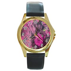 Oil Painting Flowers Background Round Gold Metal Watch