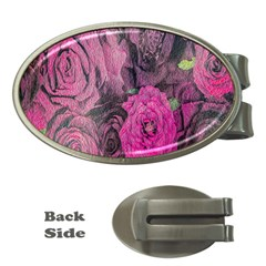 Oil Painting Flowers Background Money Clips (Oval)