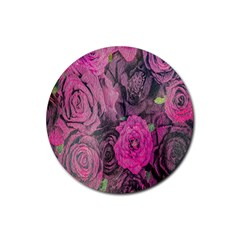 Oil Painting Flowers Background Rubber Coaster (Round)