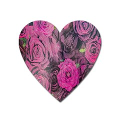Oil Painting Flowers Background Heart Magnet