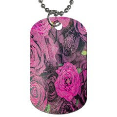 Oil Painting Flowers Background Dog Tag (one Side)