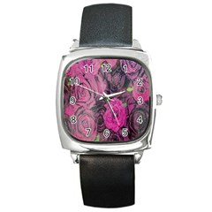 Oil Painting Flowers Background Square Metal Watch