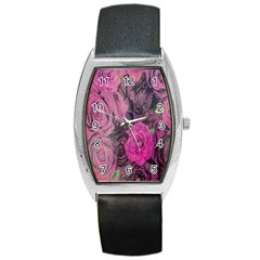 Oil Painting Flowers Background Barrel Style Metal Watch