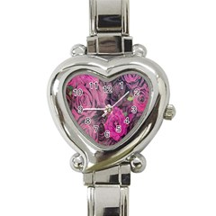 Oil Painting Flowers Background Heart Italian Charm Watch