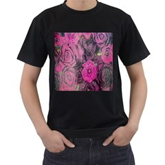 Oil Painting Flowers Background Men s T Shirt (black) (two Sided)