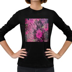 Oil Painting Flowers Background Women s Long Sleeve Dark T-Shirts