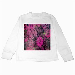 Oil Painting Flowers Background Kids Long Sleeve T-Shirts