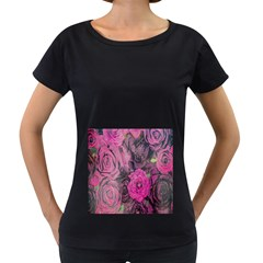 Oil Painting Flowers Background Women s Loose-Fit T-Shirt (Black)