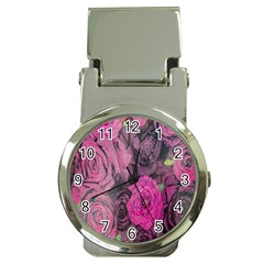 Oil Painting Flowers Background Money Clip Watches