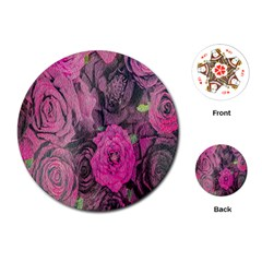 Oil Painting Flowers Background Playing Cards (Round)
