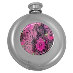 Oil Painting Flowers Background Round Hip Flask (5 oz)
