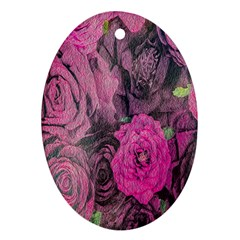 Oil Painting Flowers Background Oval Ornament (two Sides)