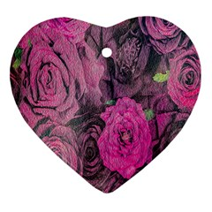 Oil Painting Flowers Background Heart Ornament (Two Sides)
