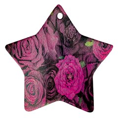 Oil Painting Flowers Background Star Ornament (two Sides)