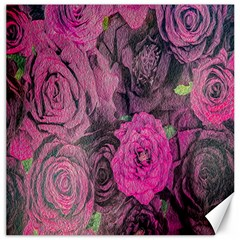 Oil Painting Flowers Background Canvas 16  x 16