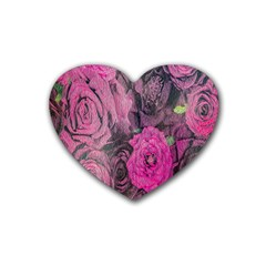 Oil Painting Flowers Background Rubber Coaster (heart)