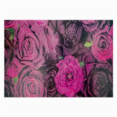 Oil Painting Flowers Background Large Glasses Cloth (2 Side)