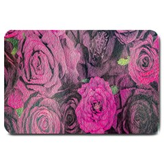 Oil Painting Flowers Background Large Doormat