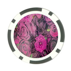 Oil Painting Flowers Background Poker Chip Card Guard
