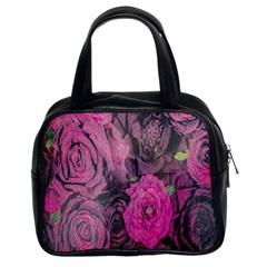 Oil Painting Flowers Background Classic Handbags (2 Sides)