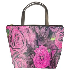Oil Painting Flowers Background Bucket Bags