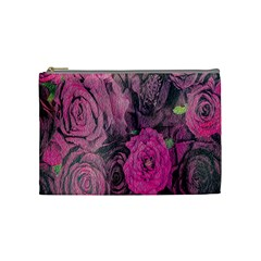Oil Painting Flowers Background Cosmetic Bag (Medium)