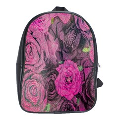 Oil Painting Flowers Background School Bags(Large)