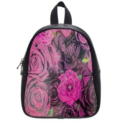 Oil Painting Flowers Background School Bags (Small)