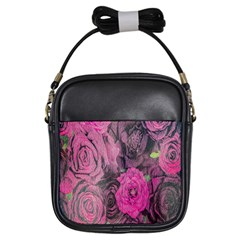Oil Painting Flowers Background Girls Sling Bags