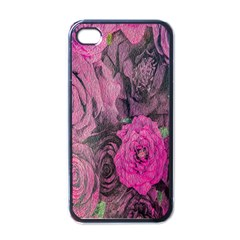 Oil Painting Flowers Background Apple iPhone 4 Case (Black)