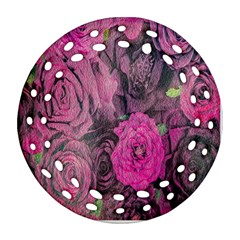 Oil Painting Flowers Background Ornament (Round Filigree)