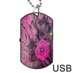 Oil Painting Flowers Background Dog Tag Usb Flash (one Side)