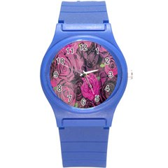 Oil Painting Flowers Background Round Plastic Sport Watch (s)