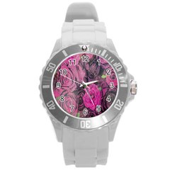 Oil Painting Flowers Background Round Plastic Sport Watch (l)