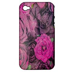Oil Painting Flowers Background Apple iPhone 4/4S Hardshell Case (PC+Silicone)