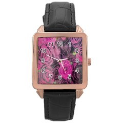 Oil Painting Flowers Background Rose Gold Leather Watch