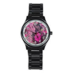 Oil Painting Flowers Background Stainless Steel Round Watch