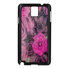 Oil Painting Flowers Background Samsung Galaxy Note 3 N9005 Case (Black)
