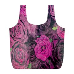 Oil Painting Flowers Background Full Print Recycle Bags (L)