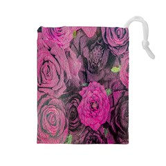 Oil Painting Flowers Background Drawstring Pouches (large)