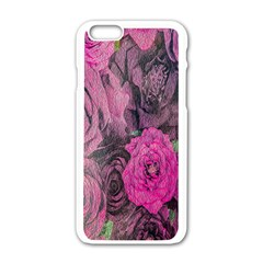 Oil Painting Flowers Background Apple Iphone 6/6s White Enamel Case