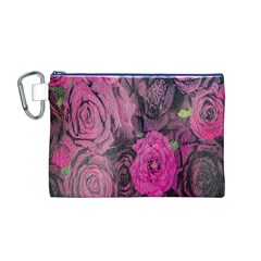 Oil Painting Flowers Background Canvas Cosmetic Bag (m)