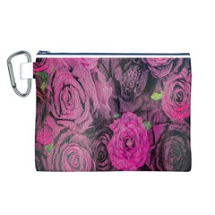 Oil Painting Flowers Background Canvas Cosmetic Bag (l)