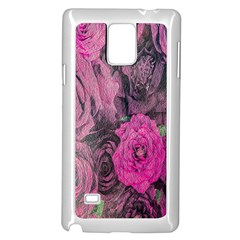 Oil Painting Flowers Background Samsung Galaxy Note 4 Case (White)