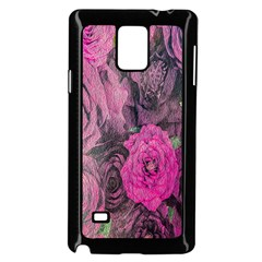 Oil Painting Flowers Background Samsung Galaxy Note 4 Case (Black)
