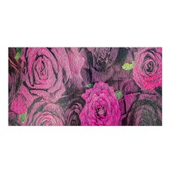 Oil Painting Flowers Background Satin Shawl