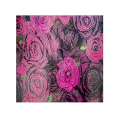 Oil Painting Flowers Background Small Satin Scarf (square)