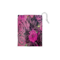 Oil Painting Flowers Background Drawstring Pouches (XS)